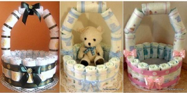 Originální a praktický dárek k narození miminka, ke křtinám či k odchodu kolegyně na mateřskou? Darujte plenkový košík! Ideální dárek do porodnice!