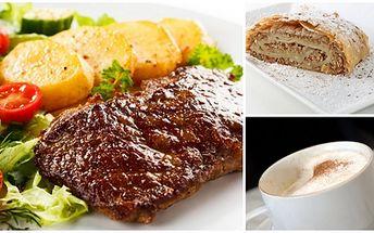 Za 196 Kč získejte menu pro 2 OSOBY - 2x šťavnatý grilovaný STEAK z vepřové krkovičky s opečenými bramborami, 2x ZELNÝ SALÁT, 2x ZÁKUSEK a 2x KÁVA/ČAJ. To vše v HOSTINCI U MATĚJE KOTRBY. Dopřejte si parádní menu o 3 chodech se slevou 70%!