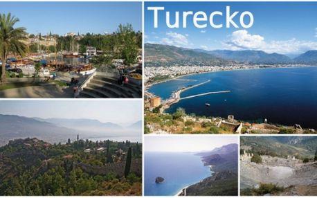 Poznejte Tureckou kulturu a přírodu, zažijte dobrodružství i relaxaci! Úžasná cena 7490,- zahrnuje: letenky Praha - Antalya - Praha, poznávací 5-ti denní část, pobyt ve 4* nebo 5* hotelu, transfer, pojištění CK! Termín konání 5.6. - 12.6. 2011!!
