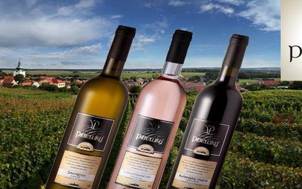 299 Kč za 3 přívlastková vína z Vinařství Přítluky. Slibný degustační set bílého, růžového a červeného vína z vzácných odrůd pěstovaných na Moravě po staletí se slevou 53 %.