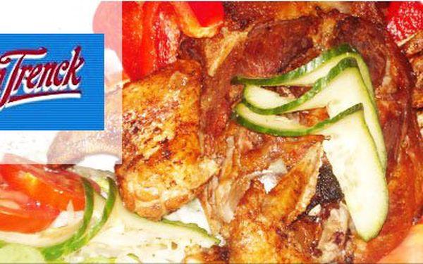 Dozlatova pečené vepřové koleno 1,5 kg a kuřecí křupavoučká křidélka se zeleninovou oblohou jen za 155 Kč! Pojďte si užít pořádné hody do restaurace Baron Trenck se slevou 60%.