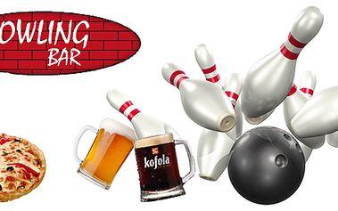 Hodina bowlingu (až pro 8 hráčů), 4 piva nebo Kofoly a výtečná italská pizza (průměr 30 cm) v centru Prahy!