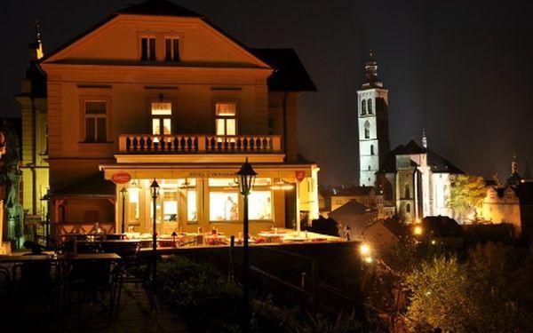 Balíček ubytování v Kutné Hoře se snídaní, večeří na terase, vstupem na vinici a službami jen za 2900Kč pro 2! Sleva 49%! Zažijte odpočinkový pobyt v historickém městě se snídaní, večerním posezením u vína a sýrů s výhledem na Kutnou Horu a slevami na vstupy do památek v Kutné Hoře! Bohatý piknikový koš s lahví vína a županový servis v ceně! Výběr ze 2 možností ubytování!
