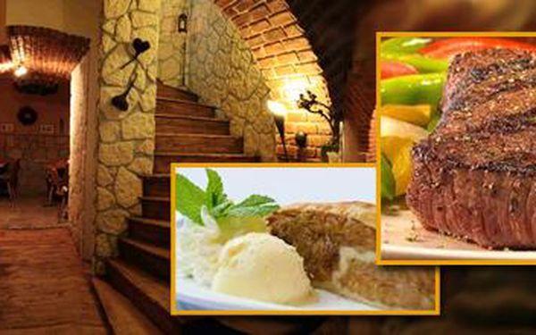 Bohaté menu pro dva se 70% slevou! 2x ČTVRTKILOVÝ steak ze šťavnaté krkovičky včetně přílohy a omáčky dle vlastního výběru + domácí jablkový štrůdl se zmrzlinou.