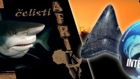 145 Kč za ČELISTI AFRIKY - jedinečnou knihu, žraločí zub a DVD plné úchvatných záběrů ze života žraloků - vše se slevou 79 %!! Vhodné jako dárek!! Ušetřete s portálem Berslevu.cz 145 Kč!!