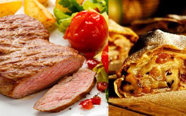 DVA steaky (2x 250 gramů) se čtyřmi druhy omáček, DVĚ přílohy dle vašeho výběru a dezert, za neskutečnou cenu 149Kč (původní cena 520Kč)! Po této vyhlášené specialitě dostanete teplý domácí štrúdl se zmrzlinou pro DVA! Oblíbená restaurace Jana Wericha U K