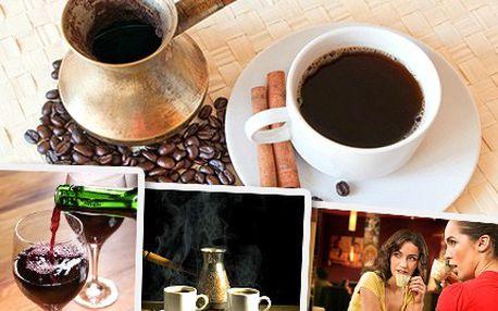 """Dopřejte si balkánskou siestu! Dejte si tradiční sarajevskou kávu, makedonské víno a sklenici vody. """"Balkánská kombinace"""" ve stylové kavárně pro dvě osoby za 99 Kč."""