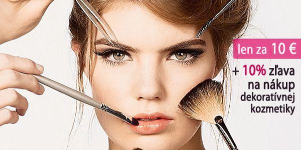 KURZ SEBALÍČENIA poukážka pre 2 osoby iba za 10 €! Príďte s kamarátkou a naučte sa pod vedením vizážistky dokonale nalíčiť + 10% zľava na nákup dekoratívnej kozmetiky