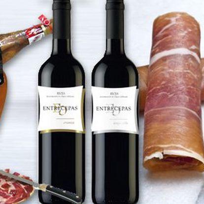 1990 Kč za DVĚ láhve kvalitního španělského vína a vyzrálou kýtu JAMON SERRANO PALETA. Delikatní gurmánský zážitek se slevou 42 %.