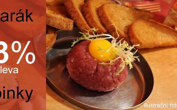 Vychutnejte si výtečný hovězí TATARSKÝ BIFTEK s 10 topinkami a vajíčkem, tak jak to má být v prestižní restauraci U KROUPŮ v Ústí Nad Labem. Pouze na Slever.cz se SLEVOU 43% za 119 Kč místo 210 Kč!
