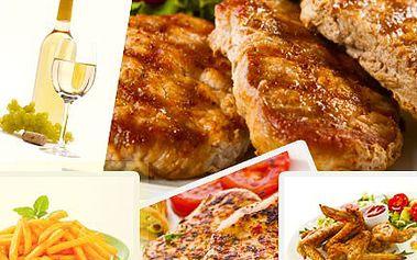 Speciální menu pro milovníky masa. Zvládnete 550g grilovaného masa, 400g hranolek s omáčkou a 0,7 Muškátu Moravského? Grilované orgie mohou začít se slevou 50%.