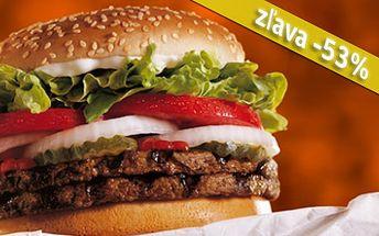 Pochutnajte si na šťavnatom DOUBLEBURGERI spolu s chrumkavými HRANOLKAMI len za 1,69€! Jedine fast food XXL BURGER vás nasýti touto lahôdkou s 53% zľavou!