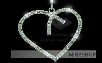 Šperky s kameny značky Swarovski Elements za super cenu. Štrasový náhrdelní srdce se stříbrným řetízkem! Dokonalý vzhled, dokonalá cena!