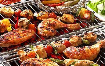 Užijte si skvělé odpoledne s přáteli a zajděte si za pouhých 645 kč na dobroty z venkovního grilu! Čeká na vás 4x kotleta na grilu, 4x špízy grilované zeleniny, 2x kuřecí steak, pepa na grilu, klobása a malý salát! Nabídka pro 6 a více osob!