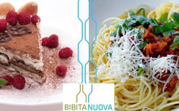 299 Kč za menu PRO DVA v italské restauraci BIBITA NUOVA. Čerstvé těstoviny, lahev vína a domácí malinové tiramisu se slevou 57 %.