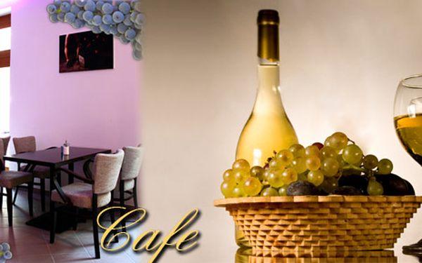 Příjemné posezení ve stylové kavárně Cafe - 1l vína z vinařství Rakvice, 2x Bonaqua a arašídy
