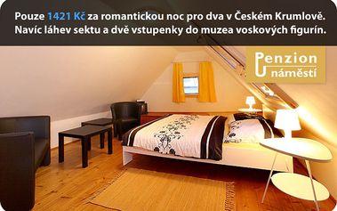 Pouze 1421 Kč za romantickou noc pro dva v historickém městě Český Krumlov. Navíc dostanete láhev sektu a dvě vstupenky do muzea voskových figurín.