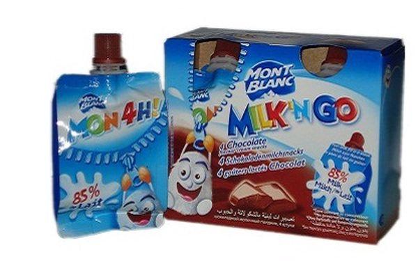 Dopřejte svým dětem kvalitní, chutnou a zábavnou stravu. 4 x porce mléčné svačinky MontBlanc MilknGo á 85g – lahodný čokoládový pudink v sáčku, ideální pro Vaše cesty! Francouzský výrobek je zárukou kvality.
