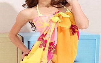 Buďte hvězdou pláže se stylovým šátkem! Plážový šátek v oranžovo-žluté barvě za skvělých 199 Kč.