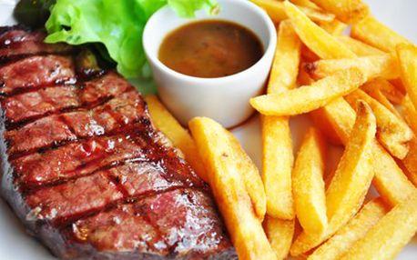 Jsi gurmán a dal by sis kus masa? Tak vyzkoušej pořádnou flákotu a k tomu hranolky! 200 g hovězího bifteku, 200g steakových hranolek a výběr ze 7 druhů omáček pro 2 osoby se slevou 51 %.