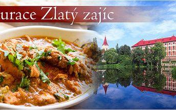 Výtečná indická večeře pro dva v restauraci Zlatý zajíc v Libochovicích se slevou 27%
