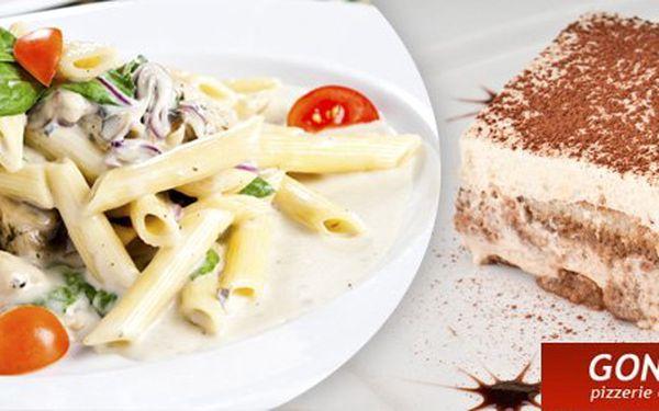 66 Kč za italské těstoviny a lahodné tiramisu pro JEDNU osobu. Romantické dostaveníčko na Gondole v centru Teplic s 51% slevou.