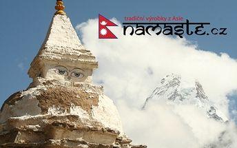 Poukaz na tradiční výrobky z Nepálu a Tibetu se slevou 50%. Sošky, šperky, čaje, popelníky, hudební nástroje, ručně malované thanky, oblečení a stovky dalších výrobků z Asie v internetovém obchodě Namaste! Za poukaz na 500 Kč obdržíte zboží s hodnotou 1000 Kč. Možné zakoupit až 10 poukazů na osobu. Nejezděte daleko a přitom získejte jedinečné tradiční suvenýry z Asie!