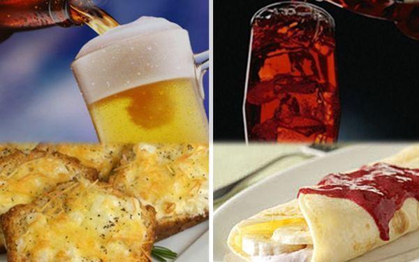 1 + 1 zdarma podle chuti pivo s topinkou nebo palačinka s nealko nápojem dle Vašeho výběru