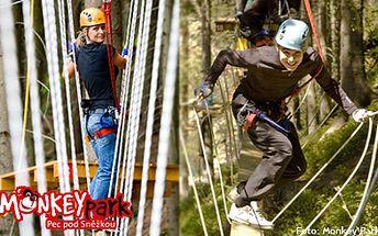 175 Kč (běžná cena 350 Kč) za vstup do lanového parku Monkey Park v Peci pod Sněžkou! Skvělá zábava pro děti i dospělé! Zdolávejte překážky, vyzkoušejte horolezeckou stěnu, lukostřelbu a nalijte si do žil pořádnou dávku adrenalinu!
