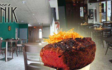 2x 200g pravých argentinských steaků z mladých býčků s hranolky nebo krokety v moderní restauraci na Praze 3!