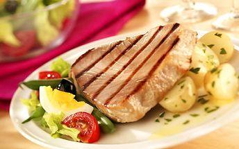 Vychutnejte si 200g steak z tuňáka s bylinkovo-česnekovým přelivem za skvělých 99 Kč! Pořádný kus skvělého tuňáka se slevou 50%? To si nemůžete nechat ujít!