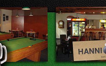 2,49 Eur za hodinu billiardu a 2 veľké kofoly v Hannibal bare. Prídite si zahrať s priateľmi billiard so zľavou 53%