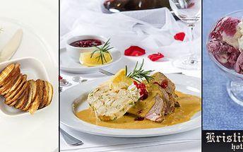 249 Kč za 4chodové menu pro DVA dle vlastního gusta v restaurantu Kristin hrádek vDěčíně. Svíčková se zvěřinou, grilovaný pstruh či vepřové koleno s křenem amnoho dalšího se slevou 52 %