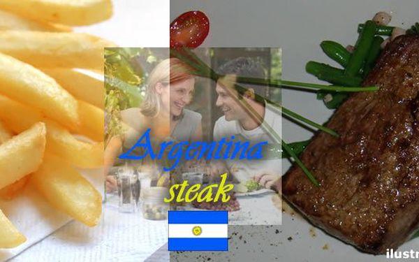 """Parádní papání v Praze se slevou 52%. Steak """"Argentina"""" pro 2 osoby s přílohou a steakovou omáčkou. 2 x 250g steak s oblohou zelených fazolek a anglické slaniny, hranolky, steaková omáčka."""