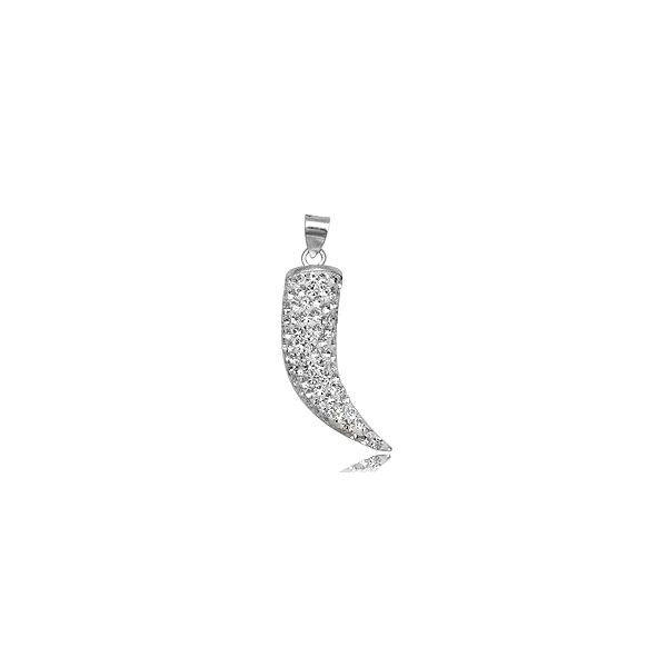 Netradiční přívěšek ze stříbra a čirými krystaly Swarovski, připomínající tvarem chili papričku. Buďte originální a svůdná!