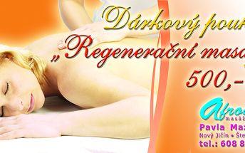 300 Kč za dárkový poukaz na regenerační masáž v původní hodnotě 500 Kč