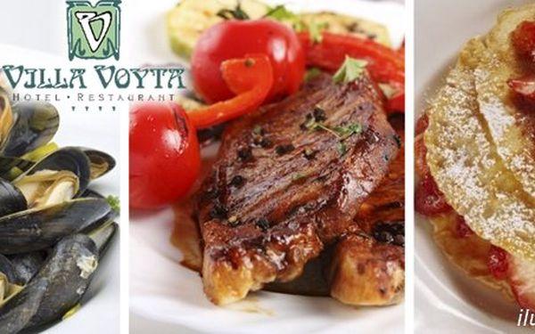 749 Kč za luxusní menu v hodnotě 1890 Kč PRO DVA ve francouzské restauraci Villa Voyta. Gratinované slávky, hovězí steak či vanilkovo-mátový krém se slevou až 60 %.