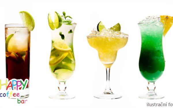 """160 Kč (běžná cena 320 Kč) za 4 míchané nápoje v kavárně Happy. Dejte si Mojito, Tequillu Sunrise, Long Island Tea či další a nastartujte noc ve skvělém stylu! Věřte nám, že určitě budete """"happy""""!"""