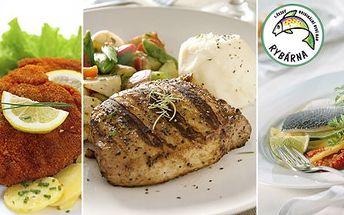 138 Kč za DVĚ hlavní jídla, DVĚ přílohy a DVA nápoje v 1. českém originálním rybím baru. Čerstvý pstruh, ale také kuřecí řízek či jemná vepřová krkovička na výběr se slevou 50 %