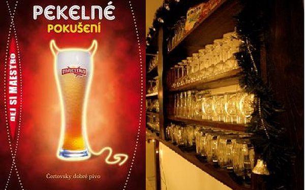 4 piva Maestro s lavinovým efektem, sýrový a uzeninový talíř ve sklípku U Zlatého hroznu.