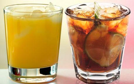 Skvělých 69 Kč za dva míchané nápoje. Možnost výběru mezi vodkou s džusem a rumem s kolou. Super sleva 57 %!