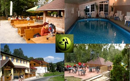 Balíček sportovně - relaxačního víkendu se zumbou jen za 2650Kč! 3 lekce zumby, 1 lekce aqua zumby, 1 lekce s představením, odpolední túra, masáž zad a po celou dobu pobytu k dispozici krytý bazén, sauna, posilovna a tělocvična! Aktivní dovolená pro ženy v krásném prostředí na úpatí Jeseníků nyní o 52% levněji!