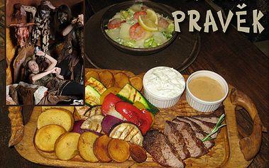 Pozvěte svou polovičku na pravou PRAVĚKOU baštu! Šťavnatý Pfeffer steak s omáčkou a tygří krevety s Caesar salátem – to vše za pouhých 298 Kč pro DVA v legendární restauraci Pravěk Doba Kamenná!