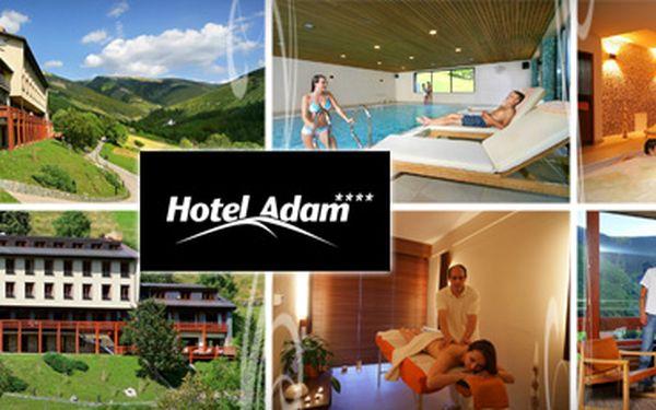 VÝHODNÉ KRKONOŠE S 51% SLEVOU!! 3 dny (2 noci) pro dvě osoby ve zrekonstruovaném 4hvězdičkovém Hotelu Adam v pokoji s výhledem do údolí Sv. Petra!! POLOPENZE, ZDARMA SAUNA, PÁRA A WHIRLPOOL!! Sleva 50 % na masáže, 25 % na půjčení kola!! Vyhledávaná lokalita pro cykloturistiku a pěší túry!! Ušetřete s námi skvělých 2 390 Kč!!