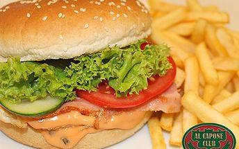 Burger AL Capone s kusem masa je mezi hamburgery vážně klasa! Ochutnejte prvotřídní americkou klasiku v Traditional Chicago Pub se slevou 50 %.