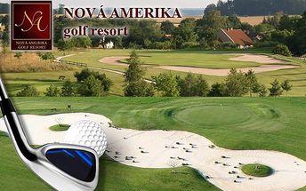 1denní neomezený golf na všech 27 jamkách na mistrovském hřišti NOVÁ AMERIKA GOLF RESORT s ubytováním na 1 noc s bohatou snídaní v hotelu přímo na hřišti za 1 200 Kč!