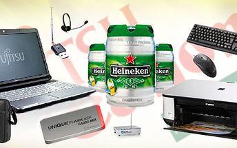 NOTEBOOK + iflashdisk 64GB + 5L Heineken + brašna + tiskárna + myš a klávesnice + dvbT a radio tuner + sluchátka s mikrofonem + wifi routr!!! Neuvěřitelně nabitý balíček!!