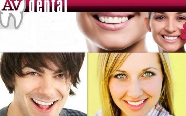 Profesionální dentální hygiena ve špičkové zubní ordinaci AV dental. Za pouhých 569 Kč můžete získat zářivější úsměv a předejít mnoha komplikacím – zubnímu kazu, zánětům dásní, paradontóze!
