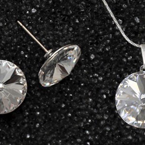 Originální ručně vyráběné šperky z jablonecké dílny s krystaly SWAROVSKI ELEMENTS! Poštovné v ceně! Souprava náušnic a řetízku s přívěskem se třpytivými kameny v deseti volitelných barvách.