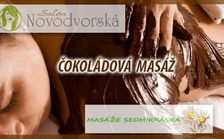 Uvolněte Vaši tělesnou schránku od stresu a napětí při jedinečné čokoládové masáži v Salónu Novodvorská nebo Studiu Sedmikráska. Dopřejte svému tělu 60min relax na který budete dlouho vzpomínat...